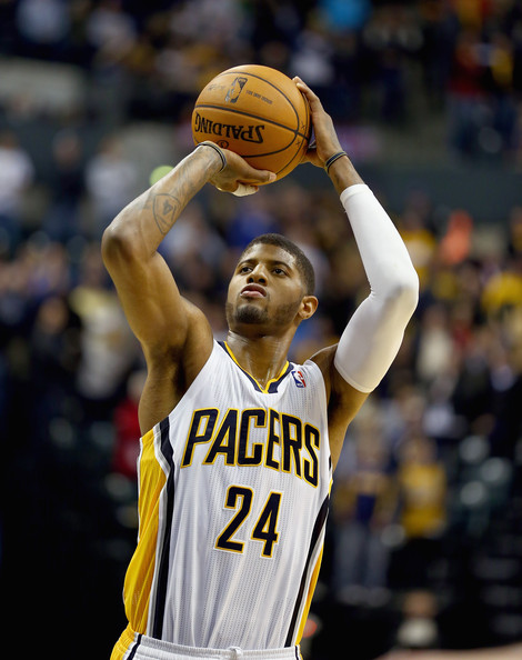 Charlotte Bobcats v Indiana Pacers [basketball,player,sports,basketball player,basketball moves,team sport,ball game,basketball court,facial expression,paul george,user,user,user,note,ball,indianapolis,indiana pacers,charlotte bobcats,game]