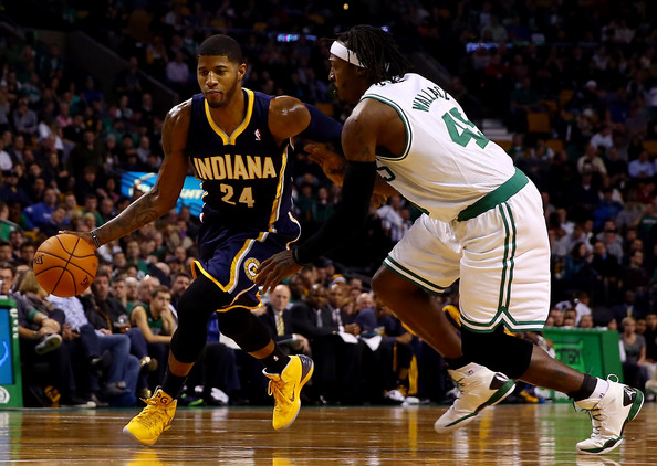 Indiana Pacers v Boston Celtics [player,sports,basketball player,tournament,basketball moves,team sport,ball game,sport venue,basketball,fan,paul george,user,user,user,note,basket,boston,indiana pacers,boston celtics,game]