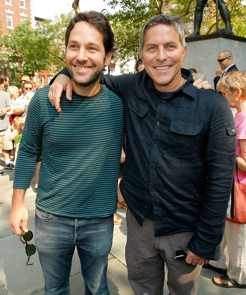 Adrienne Shelly Memorial Garden Dedication Ceremony [people,facial expression,social group,jeans,smile,event,fun,t-shirt,outerwear,textile,paul rudd,adrienne shelly memorial garden dedication ceremony,executive director,widow,adrienne shelly,andy ostroy,abingdon square park,dedication ceremony,l,adrienne shelly foundation]