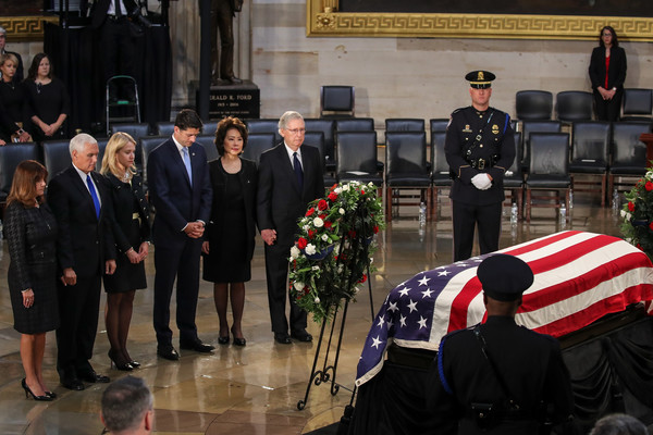 Sen. John McCain (R-AZ) Lies In State In The Rotunda Of US Capitol
