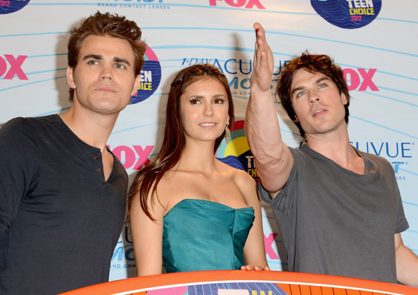Paul Wesley (L-R) Actors Paul Wesley, Nina Dobrev and Ian Somerhalder, winners of Choice Fantasy/Sci-Fi Show award, pose in the press room during the 2012 Teen Choice Awards at Gibson Amphitheatre on July 22, 2012 in Universal City, California.