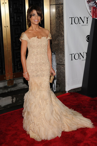 64th Annual Tony Awards - Arrivals [gown,dress,red carpet,carpet,fashion model,clothing,flooring,shoulder,haute couture,hairstyle,arrivals,paula abdul,tony awards,new york city,radio city music hall,64th annual tony awards]