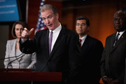 """House Budget Committee ranking member Rep. Chris Van Hollen (D-MD) (2nd L) speaks during a news conference with Minority Leader Nancy Pelosi (D-CA) (L), Democratic Caucus Vice Chair Rep. Xavier Becerra (D-CA) (2nd R) and House Democratic Assistant Leader Rep. James Clyburn (D-SC) at the U.S. Captiol September 6, 2011 in Washington, DC. Pelosi has tapped Van Hollen, Becerra and Clyburn to be members of the Joint Select Committee on Deficit Reduction, or """"deficit supercommittee."""""""