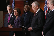 (L-R) Rep. Steve Israel (D-NY), House Minority Leader Nancy Pelosi (D-CA), Rep. Jim Clyburn (D-SC), House Minority Whip Steny Hoyer (D-MD), Rep. Joseph Crowley (D-NY) and Rep. Chris Van Hollen (D-MD) hold a news conference at the U.S. Capitol Visitors Center December 21, 2012 in Washington, DC. After the House Republicans failed to get legislation to raise taxes on millionaires to the floor, Pelosi said the GOP should return to negotiations with President Barack Obama.