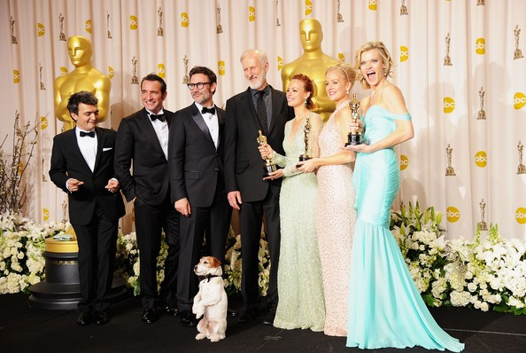 84th Annual Academy Awards - Press Room [photograph,ceremony,facial expression,bride,wedding,formal wear,event,gown,dress,yellow,michel hazanavicius,thomas langmann,jean dujardin,actors,l-r,dog,room,press room,hollywood highland center,84th annual academy awards]