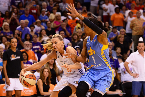 2014 WNBA Finals - Game One [basketball,sports,team sport,ball game,basketball moves,basketball player,player,tournament,crowd,game one,penny taylor,tamera young 1,user,note,ball,half,wnba,finals,game]