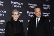 """Meryl Streep and Tom Hanks attend """"Pentagon Papers"""" (The Post) Premiere at Cinema UGC Normandie on January 13, 2018 in Paris, France."""