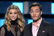Actors Natalie Dormer (L) and Ed Westwick speak onstage during the People's Choice Awards 2016 at Microsoft Theater on January 6, 2016 in Los Angeles, California.
