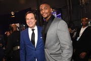 Actors Bill Paxton (L) and Justin Cornwell pose backstage at the People's Choice Awards 2017 at Microsoft Theater on January 18, 2017 in Los Angeles, California.