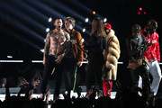 Adam Levine of Maroon 5 performs with Big Boi, Travis Scott, and Sleepy Brown during the Pepsi Super Bowl LIII Halftime Show at Mercedes-Benz Stadium on February 03, 2019 in Atlanta, Georgia.