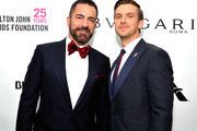 Michael Maccari (L) and Dan Stevens attend the 26th annual Elton John AIDS Foundation Academy Awards Viewing Party at The City of West Hollywood Park on March 4, 2018 in West Hollywood, California.
