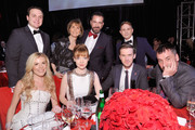 (Back L-R) Benjamin Shriner, Barbara Gallagher, Michael Maccari, Vincent Panzanella (Front L-R) Tyler Ellis, Susie Hariet, Dan Stevens, and Michael Fisher attend the 26th annual Elton John AIDS Foundation Academy Awards Viewing Party at The City of West Hollywood Park on March 4, 2018 in West Hollywood, California.
