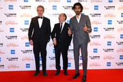 "Hugh Laurie, director Armando Iannucci and Dev Patel attend ""The Personal History Of David Copperfield"" European Premiere & Opening Night Gala during the 63rd BFI London Film Festival at the Odeon Luxe Leicester Square on October 02, 2019 in London, England."