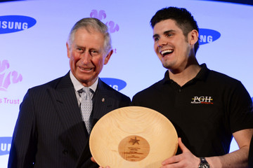 Peter Higgs Prince Charles With the Young Achievers Award Recipient