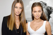 Models Nadejda Savcova (L) and Irina Shayk attend the Peter Lindbergh exhibition at Vladimir Restoin Roitfeld Gallery on September 7, 2013 in New York City.