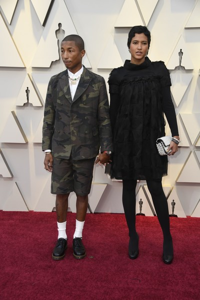 91st Annual Academy Awards - Arrivals [red carpet,carpet,fashion,suit,flooring,outerwear,event,fashion design,footwear,formal wear,arrivals,pharrell williams,helen lasichanh,academy awards,hollywood,california,highland,annual academy awards]