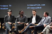 """Jeff Zimbalist, Mario Melchiot, Michael Zimbalist and Thomas Verrette attend the screening of """"Phenoms: Goalkeepers"""" during the 2018 Tribeca Film Festival at SVA Theatre on April 25, 2018 in New York City."""
