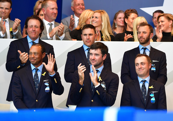 2018 Ryder Cup - Opening Ceremony [event,team,businessperson,management,company,news conference,business,suit,crew,white-collar worker,tiger woods,dustin johnson,bubba watson,brooks koepka,phil mickelson,justin thomas,ceremony,ryder cup,united states,le golf national]