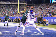 Jalen Mills #31 of the Philadelphia Eagles breaks up a pass intended for Odell Beckham #13 of the New York Giants during the fourth quarter at MetLife Stadium on October 11, 2018 in East Rutherford, New Jersey.  The Eagles defeated the Giants 34-13.