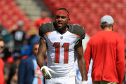 DeSean Jackson #11 of the Tampa Bay Buccaneers warms up during a game against the Philadelphia Eagles at Raymond James Stadium on September 16, 2018 in Tampa, Florida.