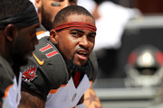 DeSean Jackson #11 of the Tampa Bay Buccaneers looks on during a game against the Philadelphia Eagles at Raymond James Stadium on September 16, 2018 in Tampa, Florida.