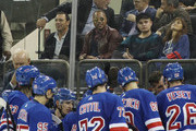 Cuba Gooding Jr. watches the game between the New York Rangers and the Philadelphia Flyers at Madison Square Garden on September 19, 2018 in New York City. The Flyers defeated the Rangers 6-4.
