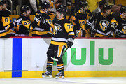 Patric Hornqvist #72 of the Pittsburgh Penguins is congratulated by his bench after scoring a goal against the Philadelphia Flyers in Game Two of the Eastern Conference First Round during the 2018 NHL Stanley Cup Playoffs at PPG PAINTS Arena on April 13, 2018 in Pittsburgh, Pennsylvania.