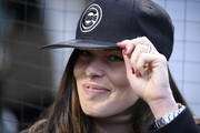 Former tennis player and French Open winner Ana Ivanovic tries on a Cubs hat before the game between the Chicago Cubs and the Philadelphia Phillies on May 2, 2017 at Wrigley Field  in Chicago, Illinois.