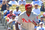 Ryan Howard #6 of the Philadelphia Phillies heads to first on a 3 RBI double in the ninth inning off of Kenley Jansen #74 of the Los Angeles Dodgers at Dodger Stadium on August 10,  2016 in Los Angeles, California. Phillies won 6-2.