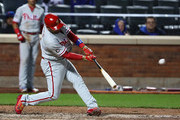 Andres Blanco #4 of the Philadelphia Phillies hits a ground rule double and drives in a run to tie the game against the New York Mets in the eigth inning during their game at Citi Field on April 18, 2017 in New York City.