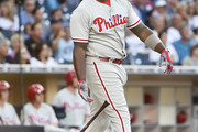 Ryan Howard #6 of the Philadelphia Phillies hits a solo home run during the second inning of a baseball game against the San Diego Padres at PETCO Park on August 6, 2016 in San Diego, California.