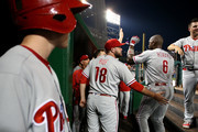 Ryan Howard #6 of the Philadelphia Phillies is greeted in the dugout by teammates after hitting a three run home run during the third inning against the Washington Nationals at Nationals Park on September 8, 2016 in Washington, DC.