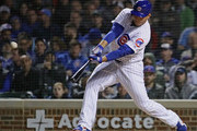 Anthony Rizzo #44 of the Chicago Cubs hits a run scoring double in the 8th inning against the Philadelphia Phillies at Wrigley Field on June 5, 2018 in Chicago, Illinois.