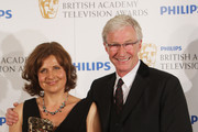 (UK TABLOID NEWSPAPERS OUT) Paul O Grady poses with Rebecca Front after presenting her with the best female comedy performance award in front of the winners boards at The Philips British Academy Television Awards held at The Palladium on June 6, 2010 in London, England.