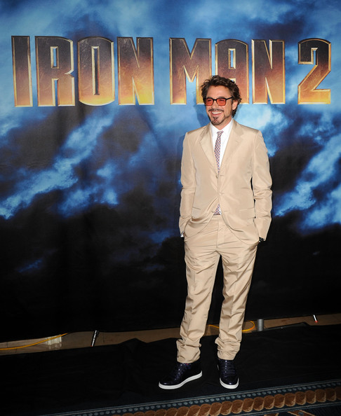 """Actor Robert Downey Jr. poses during Paramount Pictures & Marvel Entertainment's """"Iron Man 2"""" photo call held at the Four Seasons Hotel on April 23, 2010 in Los Angeles, California."""