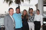 "(L-R) Dany Boon, Adam Sandler, Jennifer Aniston, Luis Gerardo Mendez and Shiori Kutsuna attend a photocall of Netflix's ""Murder Mystery"" at the Ritz Carlton Marina Del Rey on June 11, 2019 in Marina del Rey, California."