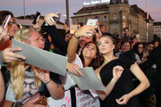 Natalie Dormer takes a selfie with fans as she attends the 'Picnic at Hanging Rock' premiere during the 14th Zurich Film Festival at Festival Centre on October 05, 2018 in Zurich, Switzerland.