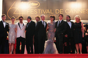 """(L-R) Actors Sam Claflin, Astrid Berges-Frisbey, Johnny Depp, Geoffrey Rush, producer Jerry Bruckheimer, guest, Penelope Cruz, director Rob Marshall, and Ian McShane attend the """"Pirates of the Caribbean: On Stranger Tides"""" premiere at the Palais des Festivals during the 64th Cannes Film Festival on May 14, 2011 in Cannes, France."""