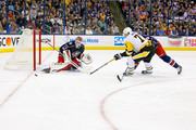 Sergei Bobrovsky #72 of the Columbus Blue Jackets stops a shot from Evgeni Malkin #71 of the Pittsburgh Penguins in Game Four of the Eastern Conference First Round during the 2017 NHL Stanley Cup Playoffs on April 18, 2017 at Nationwide Arena in Columbus, Ohio. Columbus defeated Pittsburgh 5-4.