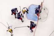 Sergei Bobrovsky #72 of the Columbus Blue Jackets stops a shot from Ron Hainsey #65 of the Pittsburgh Penguins in Game Four of the Eastern Conference First Round during the 2017 NHL Stanley Cup Playoffs on April 18, 2017 at Nationwide Arena in Columbus, Ohio. Columbus defeated Pittsburgh 5-4.