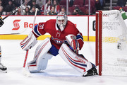 Goaltender Antti Niemi #37 of the Montreal Canadiens protects his net against the Pittsburgh Penguins during the NHL game at the Bell Centre on October 13, 2018 in Montreal, Quebec, Canada.  The Montreal Canadiens defeated the Pittsburgh Penguins 4-3 in a shootout.