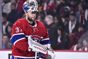 Goaltender Antti Niemi #37 of the Montreal Canadiens looks on against the Pittsburgh Penguins during the NHL game at the Bell Centre on October 13, 2018 in Montreal, Quebec, Canada.  The Montreal Canadiens defeated the Pittsburgh Penguins 4-3 in a shootout.