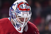 Goaltender Antti Niemi #37 of the Montreal Canadiens looks down against the Pittsburgh Penguins during the NHL game at the Bell Centre on October 13, 2018 in Montreal, Quebec, Canada.  The Montreal Canadiens defeated the Pittsburgh Penguins 4-3 in a shootout.