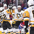 Kris Letang Photos - Kris Letang #58 of the Pittsburgh Penguins celebrates a first period goal with teammates against the Montreal Canadiens during the NHL game at the Bell Centre on October 13, 2018 in Montreal, Quebec, Canada. - Pittsburgh Penguins v Montreal Canadiens