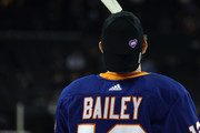 """Josh Bailey #12 of the New York Islanders wears a """"DIFD - Do It For Daron"""" hat during warmups prior to their game against the Pittsburgh Penguins at the Barclays Center on January 5, 2018 in the Brooklyn borough of New York City. The charitible venture supports mental health initiatives and is named in honor of Daron Richardson the daughter of the Islanders assistant coach Luke Richardson."""