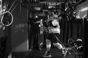 This image has been converted to black and white)  Claude Giroux #28 of the Philadelphia Flyers leaves the ice following warm ups prior to playing against the Pittsburgh Penguins in Game Six of the Eastern Conference First Round during the 2018 NHL Stanley Cup Playoffs at the Wells Fargo Center on April 22, 2018 in Philadelphia, Pennsylvania.