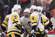 Patric Hornqvist #72 of the Pittsburgh Penguins (c) celebrates his goal at 13:35 of the second period against the Philadelphia Flyers in Game Six of the Eastern Conference First Round during the 2018 NHL Stanley Cup Playoffs at the Wells Fargo Center on April 22, 2018 in Philadelphia, Pennsylvania.