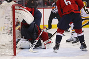 Goalie Braden Holtby #70 of the Washington Capitals makes a save on a shot by Patric Hornqvist #72 of the Pittsburgh Penguins during the third period in Game Two of the Eastern Conference Second Round during the 2018 NHL Stanley Cup Playoffs at Capital One Arena on April 29, 2018 in Washington, DC.