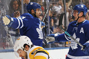 Nazem Kadri #43 of the Toronto Maple Leafs celebrates a goal with teammate Tyler Bozak #42 against the Pittsburgh Penguins during an NHL game at the Air Canada Centre on March 10, 2018 in Toronto, Ontario, Canada. The Maple Leafs defeated the Penguins 5-2.