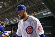 Starting pitcher Jon Lester #34 of the Chicago Cubs walks out to pitch the 6th inning against the Pittsburgh Pirates at Wrigley Field on September 27, 2018 in Chicago, Illinois.